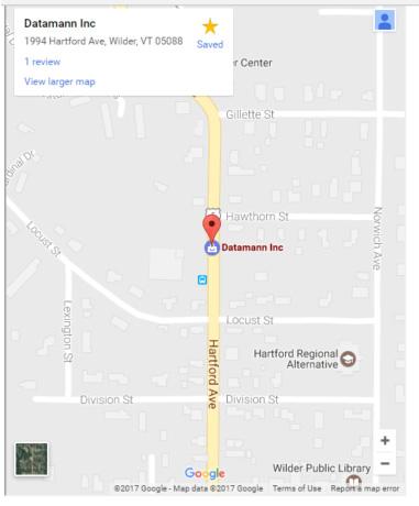 Directions to Datamann, 1994 Hartford Ave, Wilder, VT